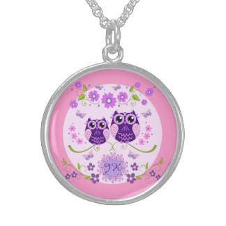 Owls, Flowers & Butterflies Custom Monogram Sterling Silver Necklace