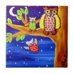 Owls Flying Lessons Folk Art Tile