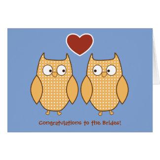 Owls Gay Wedding Card for Lesbian Brides