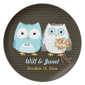 Owls Getting Married - Bride and Groom with Text Dinner Plate