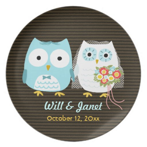Owls Getting Married - Bride and Groom with Text Party Plates