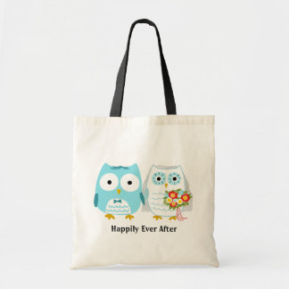 Owls Getting Married - Cute Bride and Groom Budget Tote Bag
