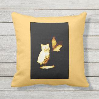 Owls Glowing at Night Abstract Bird Art Throw Pillows