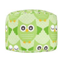 Owls - Green (7).jpg Pouf