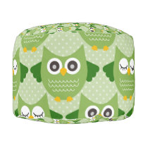 Owls - Green (9).jpg Pouf