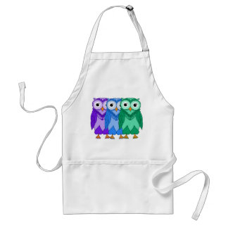 Owls: Green Blue Purple Adult Apron