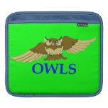 OWLS green I-pad sleeve iPad Sleeves