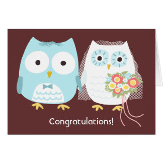 Owls Happily Ever After, Wedding Congratulations Greeting Card