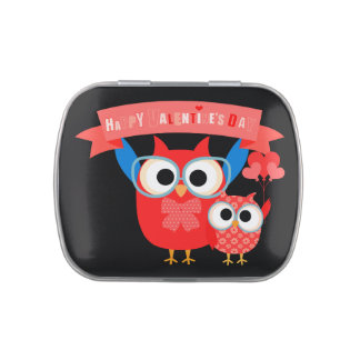 Owls Happy Valentines Day Candy Tins