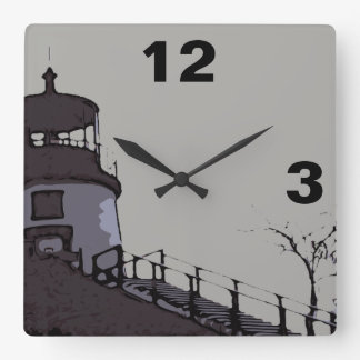 OWLS HEAD LIGHT SQUARE WALL CLOCK