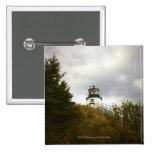 Owl's Head Lighthouse on a Cloudy Day Pinback Button