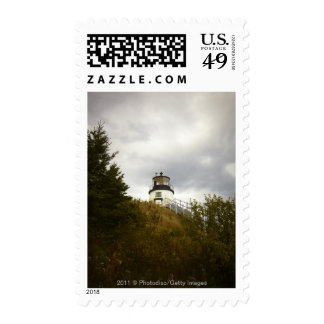 Owl's Head Lighthouse on a Cloudy Day Stamp