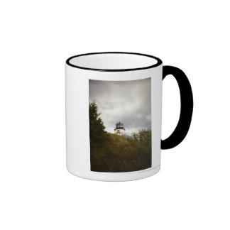 Owl's Head Lighthouse on a Cloudy Day Ringer Mug