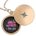 Owls & Hearts Love - Gold Locket Necklace