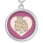 Owls Hearts Love Personalized Necklace