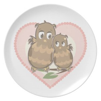 Owls Hearts Love plate