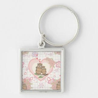 Owls Hearts Roses Keychain