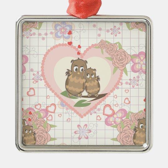 Owls Hearts Roses Metal Ornament