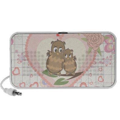 Owls Hearts Roses Travel Speaker