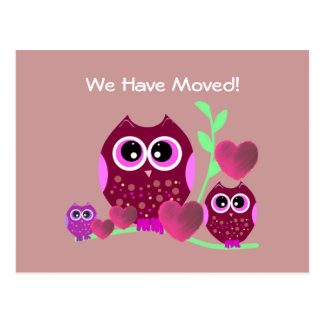 Owls & Hearts We've Moved Postcard