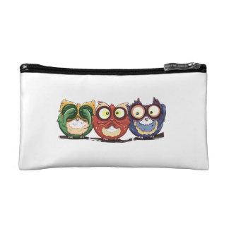 Owls Hoot See Speak Hear No Evil Cosmetics Bags
