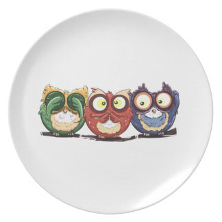 Owls Hoot See Speak Hear No Evil Party Plate