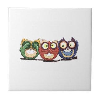 Owls Hoot See Speak Hear No Evil Tile