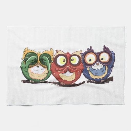 Owls hoot see speak hear no evil towel zazzle - Hear no evil owls ceramic ...