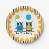 Owls I'm This Many 2nd Happy Birthday Paper Plate