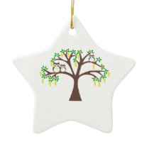 Owls in a Laburnum Tree Ceramic Ornament