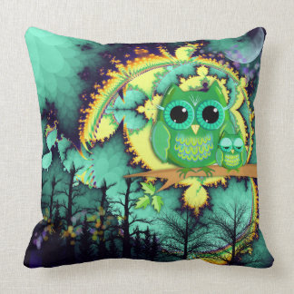 Owls in a magical night throw pillow