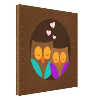 Owls in a Nest Canvas Print