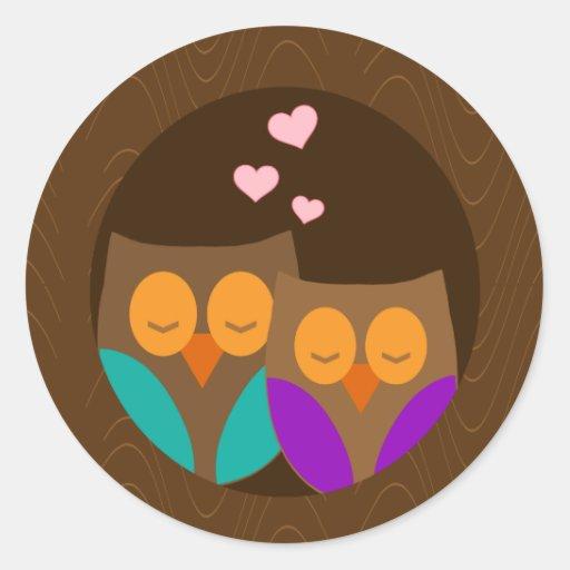 Owls in a Nest Round Sticker