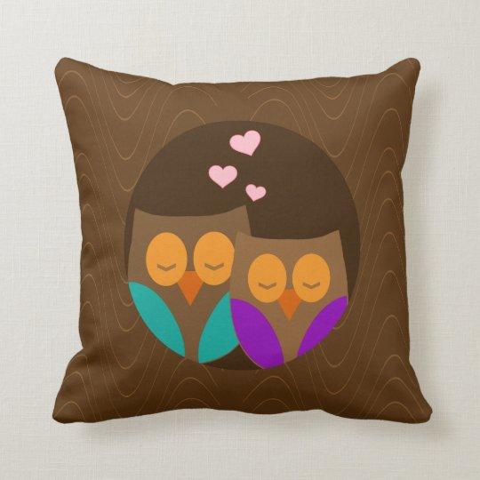 Owls in a Nest Throw Pillow