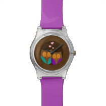 Owls in a Nest Wrist Watch