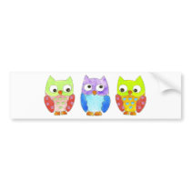 Owls in a Row Bumper Sticker