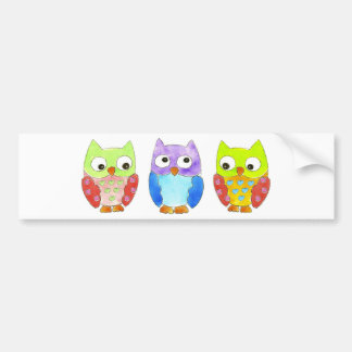 Owls in a Row Bumper Sticker