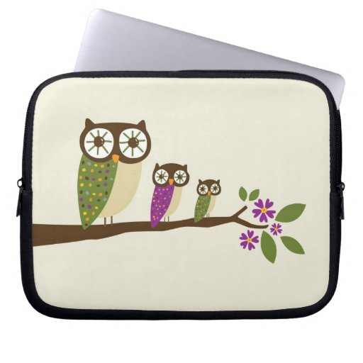 Owls in a row cover laptop sleeve