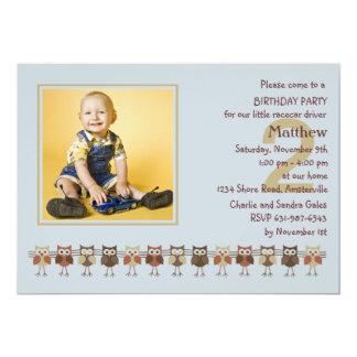 "Owls in a Row Photo Birthday Party  Invitation 5"" X 7"" Invitation Card"