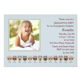Owls in a Row Photo Graduation Invitation