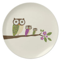 Owls in a row plate
