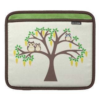 Owls in a Yellow Laburnum Tree Sleeve For iPads