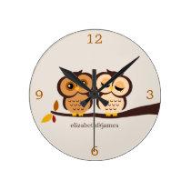 Owls in Autumn Round Clock