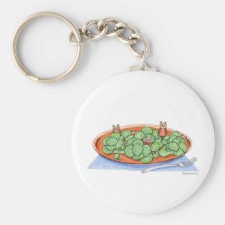 Owls in Broccoli Basic Round Button Keychain