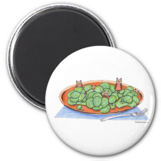 Owls in Broccoli 2 Inch Round Magnet