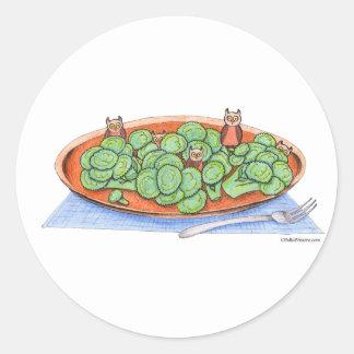 Owls in Broccoli Classic Round Sticker