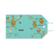 Owls in Forest gift tag