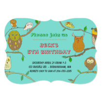 Owls in Forest personalized birthday party invite