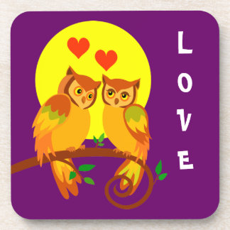Owls in love 2 drink coaster