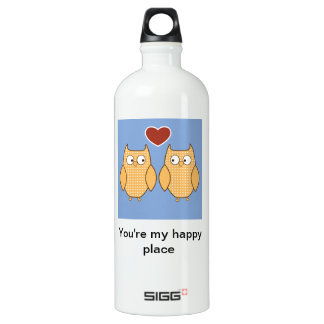 Owls in Love Aluminum Water Bottle